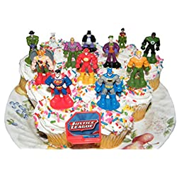 DC Superheroes Batman Superman Justice League Set of 13 Cake Toppers Cup Cake Party Favor Decorations Featuring the Batman, Flash, Green Lantern, Krypto, the Joker Etc with DC Hero ToyRing