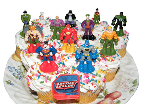 DC Superheroes Batman Superman Justice League Set of 13 Cake Toppers Cup Cake Party Favor Decorations Featuring the Batman, Flash, Green Lantern, Krypto, the Joker Etc with DC Hero ToyRing -