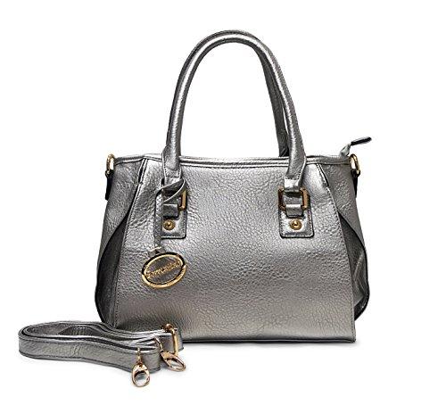 Petite Tote Handbag - Sorrentino Women's Handbag Petite Tote Satchel (601_Silver)