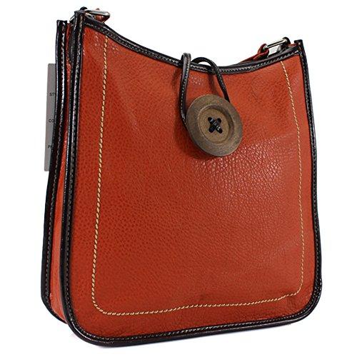 YDezire? Womens Ladies Faux Leather Button Cross Body Messenger Bag Women Shoulder Tote Satchel Handbag Orange