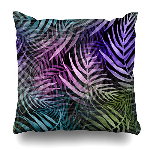 Ahawoso Throw Pillow Cover Leaf Blue Black Watercolor Pattern Palm Purple Abstract Green Botanical Botany Branch Bush Drawing Home Decor Zippered Pillowcase Square Size 16 x 16 Inches Cushion ()