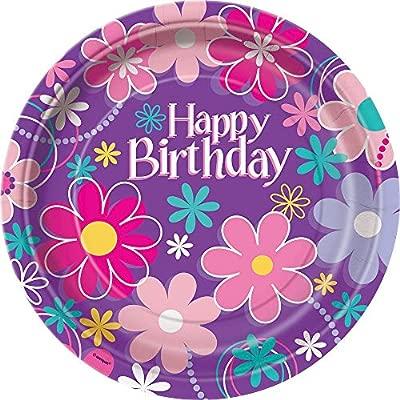 Partido Ênico 23 cm Platos Cumpleaños Fiesta Flor (paquete ...