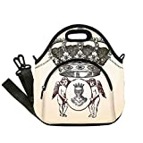 Insulated Lunch Bag,Neoprene Lunch Tote Bags,Medieval,Illustration Shield Design Art With Crest Badge Medallion Angel Royal,Cream Maroon Sepia,for Adults and children