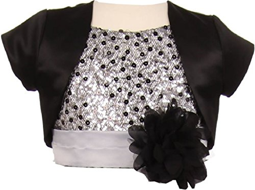 BluNight Collection Satin Short Cover Shoulder Bolero Big Girl Special Occasion Bolero (35KD5) Black 8
