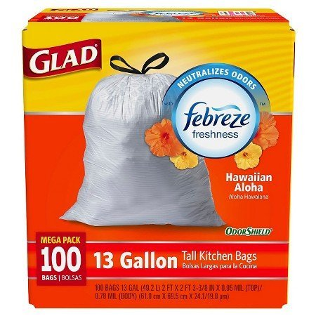 Glad 100 Count Mega Pack 13 Gallon Tall White Trash Bags Drawstring With OdorShield, Febreze Freshness and Hawaiian Aloha Scent