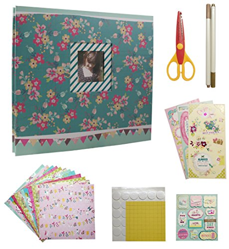 IDULL Scrapbook Kits 8x8 Scrapbooking Supplies Girls (Green, Flower) by IDULL