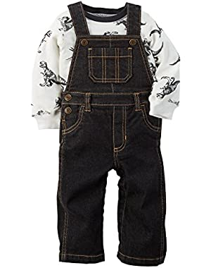 Baby Boys 2-Piece Dinosaur Shirt and Overalls Set