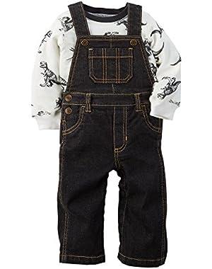 Baby Boys 2-Piece Dinosaur Shirt and Overalls Set