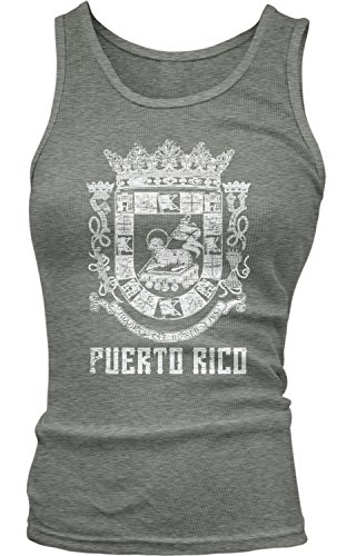 Amdesco Junior's Puerto Rican Coat of Arms, Puerto Rico Tank Top, Deep Heather Medium