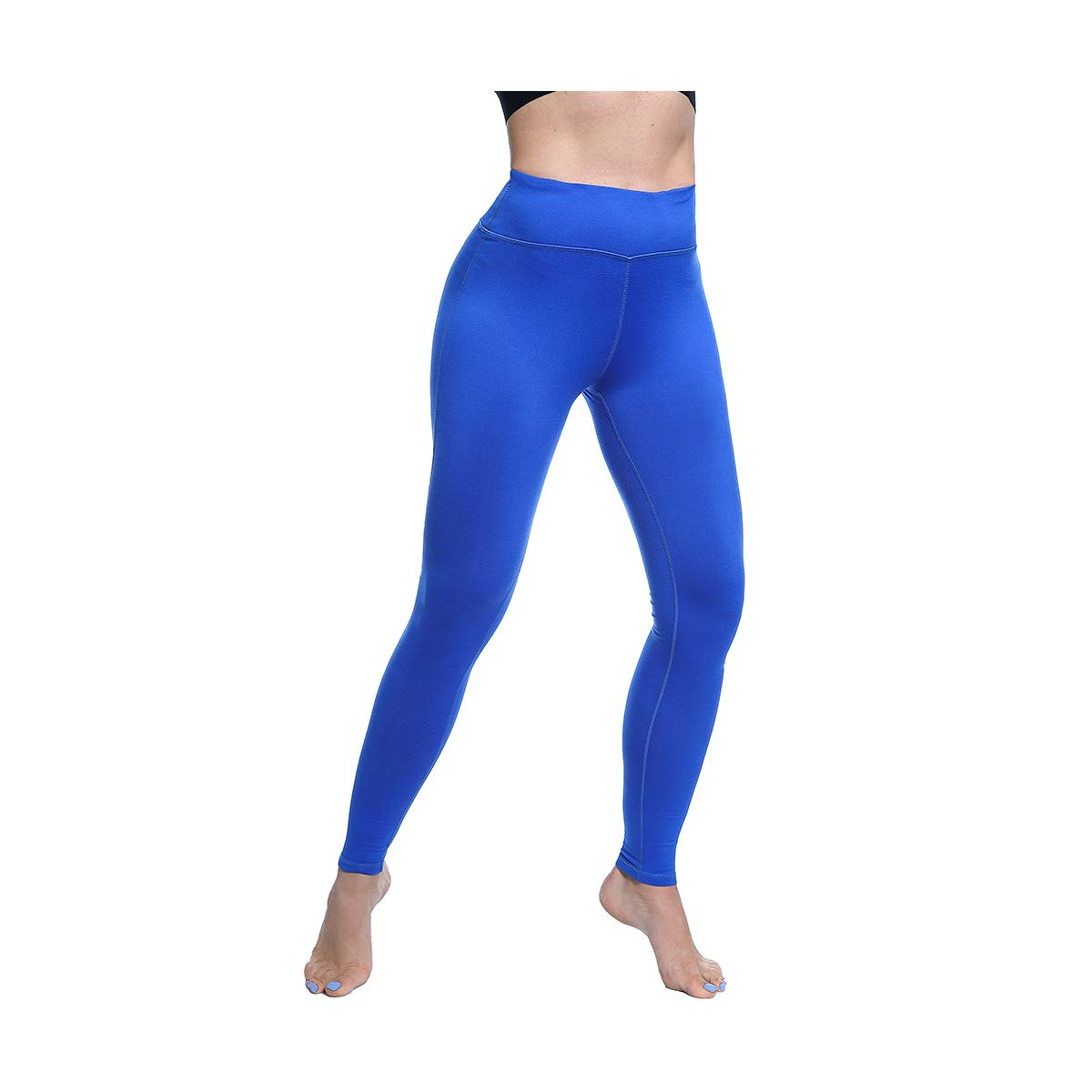 Basicbrilliant bluee FEIVO Yoga Pants, Womens Power Flex Yoga Pants Tummy Control Workout Yoga Capris