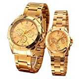 Couples Gifts Classic Stainless Steel Quartz Gold Watch (Set of 2)