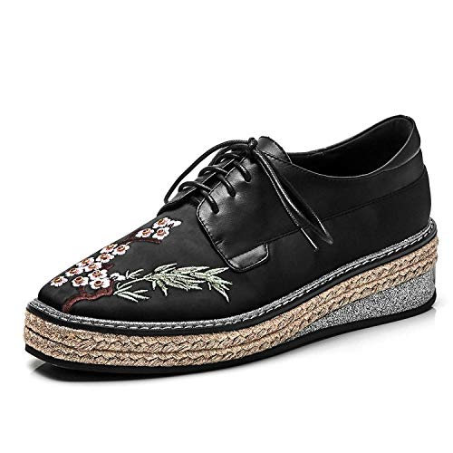 Zgen Women Embroidered Brogue Shoes Woman Handmade Genuine Leather Wedge Flat Platform Shoes Ladies Spring Retro Lace-Up Oxfords,Black,38 (Retro Mod Brogues)