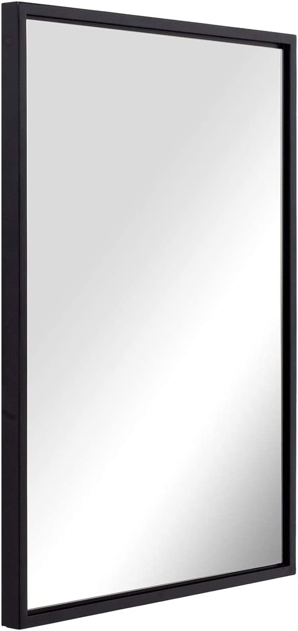 ANDY STAR 20x28x1 Black Bathroom Mirror for Wall, Matte Black Modern Rectangle Mirror Premium Silver Backed Floating Glass Panel Hangs Horizontal or Vertical