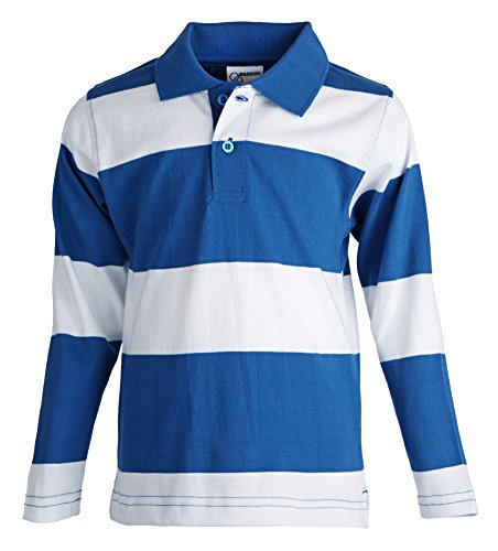 Madison Boys 100% Cotton Long Sleeve Wid - Multi Coloured Striped Polo Shopping Results