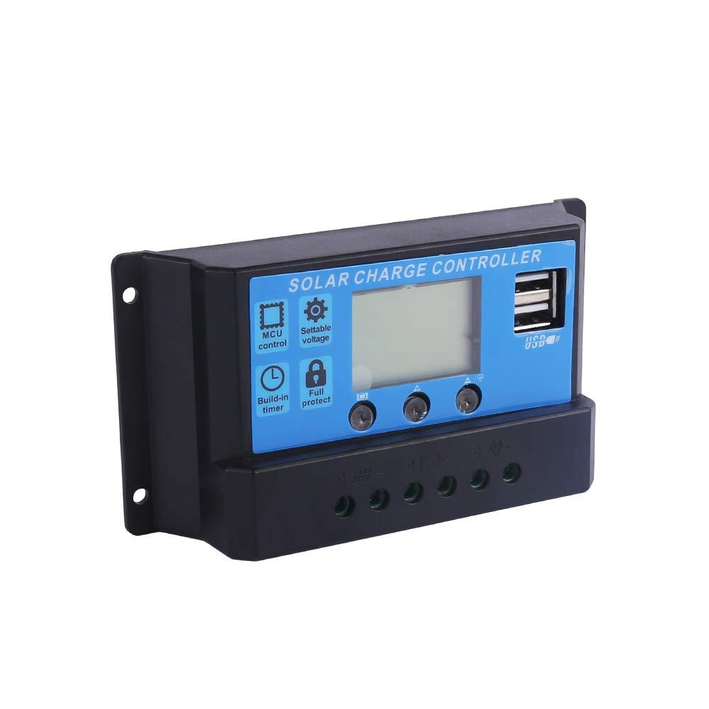 Betop-camp Regulador Auto de la Carga de la Bater/ía del Panel Solar del Regulador Solar del Cargador 20A con USB Dual 12V 24V