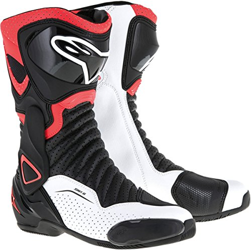 Vented Racing Boots - Alpinestars SMX-6 V2 Vented Boots -Vented Black/Red/White-45