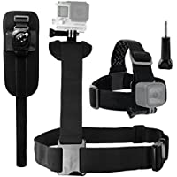 CamKix Body Mount Bundle for Gopro Hero 5, Black, Session, Hero 4, Session, Black, Silver, Hero+ LCD, 3+, 3, 2, 1 – Shoulder Harness Mount / Head Strap Mount / Rotating Wrist Mount / Thumbscrew