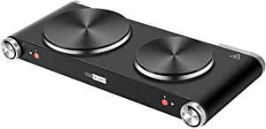 VIVOHOME 1800W Countertop Double Burner Electric Hot Plate, Durable Cast Iron Cooktop with Mitten for Indoor Outdoor, Adjustable Temperature Control from 200℉ to 720℉