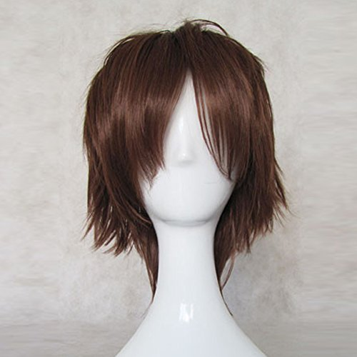 Phantom Wig (Kid the Phantom Thief Detective Conan Brown Short Cosplay Party Hair Wig + Free Wig Cap)