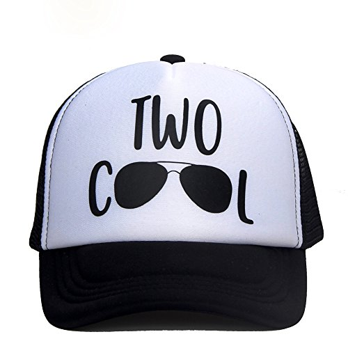 DongKing Trucker Hats for Kids Two Cool Pattern Print 2 Years Old Birthday Gifts (Black)
