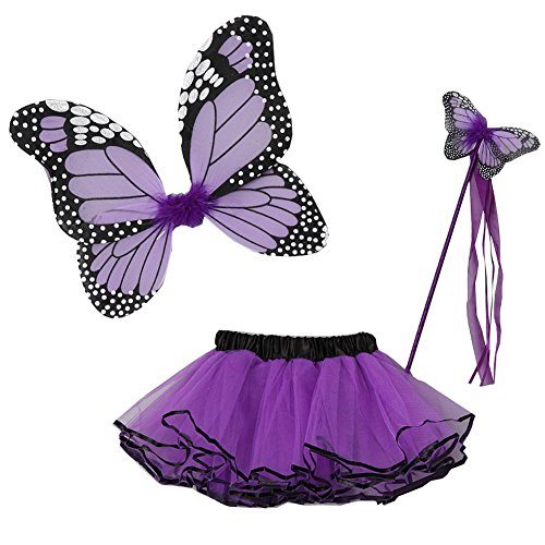 Purple Butterfly Costumes (Little Girls Purple Butterfly Wings Wand Halloween Tutu 3 Pcs Set 2-4T)
