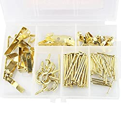 picture frame hookkits, heavy duty picture hanging nails kit,Gold picture hooks for hanging picture frame, mirror, drywall art painting, art display, clock, Christmas decoration by Momo