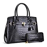 Women Patent Leather Purses and Handbags Ladies Tote Bag Padlock Shoulder Bag Top Handle Satchel with Wallet (Croco- Black)