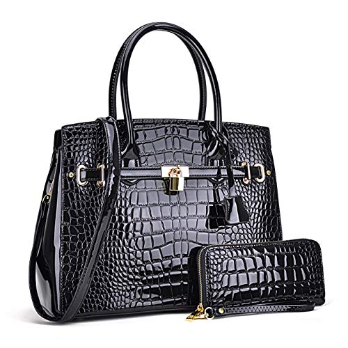 - Women Patent Leather Purses and Handbags Ladies Tote Bag Padlock Shoulder Bag Top Handle Satchel with Wallet (Croco- Black)