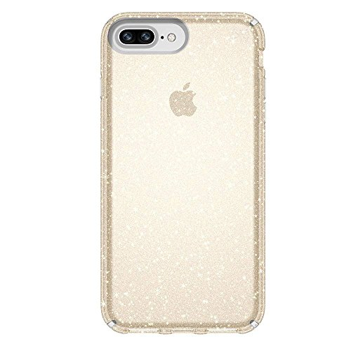 Speck Products Presidio Clear + Glitter Case for iPhone 8 Plus (Also fits 7 Plus and 6S/6 Plus), Clear With Gold Glitter/Clear