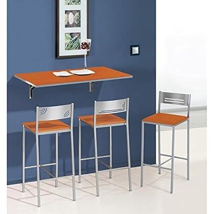 Mesa de cocina abatible de pared 90x50 cm con tapa de cristal ...