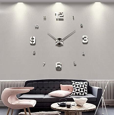 alrens _ diy (TM) manos grandes números arábigos moderno reloj de pared tamaño grande superficie del ...