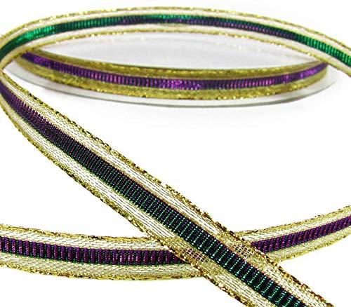 5 Yds Mardi Gras Metallic Color Changing Mirage Purple Green Ribbon 3/8