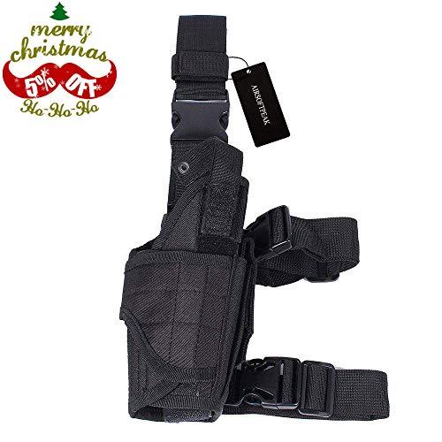 AIRSOFTPEAK Tactical Leg Holster Universal Pistol Drop Leg Gun Holster Adjustable Hunting Thigh Holster Right Handed Mag Pouch, Black