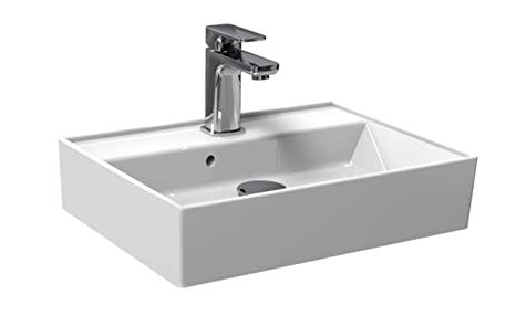 Waschbecken/Aufsatzbecken für das Gästebad | modernes Plan Design | weißer Waschtisch aus Keramik | Möbelwaschtisch für das B