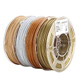 AMOLEN 3D Printer Filament Set, Bronze, Marble, Wood, Shining Gold, PLA Filament 1.75mm +/- 0.03 mm, 4x225g, Includes Sample UV Color Change to Hot Pink and GITD Blue Filament.