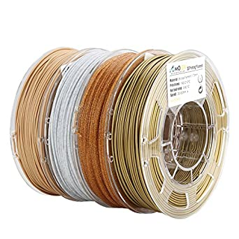 AMOLEN Impresora 3D Filamento PLA 1.75mm, Bronce, Mármol, Madera, Shining Oro, 4x225g,+/- 0.03mm, incluye Filamento Cambio de Color UV a Rosa y Glow ...