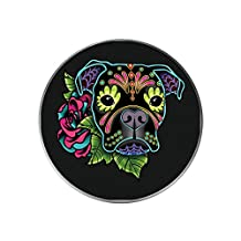 Universal Smartphone Holder, Expanding Grip Cell Phone Tablet Device Stand Mount Boxer in Black - Day of the Dead Sugar Skull Dog