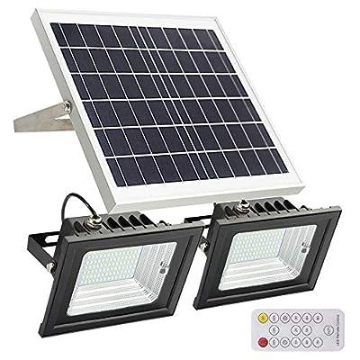Solar Flood Lights Outdoor,JPLSK Remote Control Dual 98 LEDs 15W Solar Panel IP65 Waterproof Solar Powered Flood Light for Patio Garage Garden Driveway Yard Statute Community Sign
