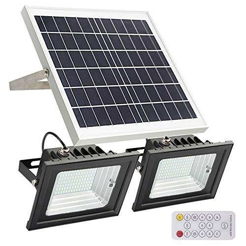 Solar Flood Lights Outdoor,JPLSK Remote Control Dual 98 LEDs 15W Solar Panel IP65 Waterproof Solar Powered Flood Light for Patio Garage Garden Driveway Yard Statute Community - Solar Panel Remote