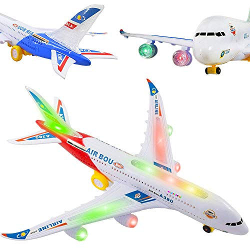 Liberty Imports Bump and Go Electric Airplane A380 Kids Action Toy - Big Model Airbus with Flashing 3D Lights and Realistic Aircraft Jet Engine Sounds (Colors May Vary)