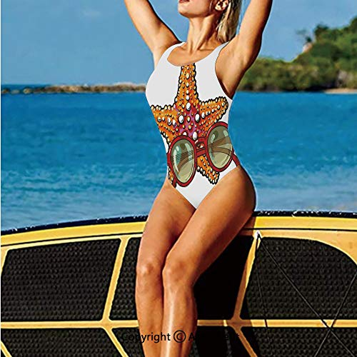 Swim-Suits,Drawn Starfish and Round Sunglasses Ho,for Women
