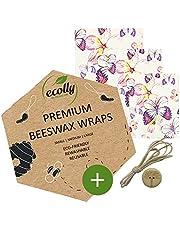 ecolly Premium Bijenwas Wraps - Set van 3 (S, M, L), Bijenwas Wipes, Bijenwas Papier, Herbruikbaar, zonder jojoba-olie - Butterfly