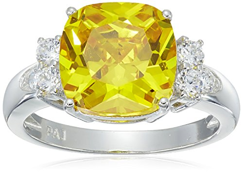 Platinum Plated Sterling Silver Cushion Cut Canary Yellow Cubic Zirconia Ring, Size (Canary Cocktail Ring)