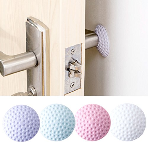 Fashionclubs Self Adhesive Door Knob Wall Protector Round Bumper Shield Prevents Holes on Wall Pack of 4 Random Color - Dia White Round Knob