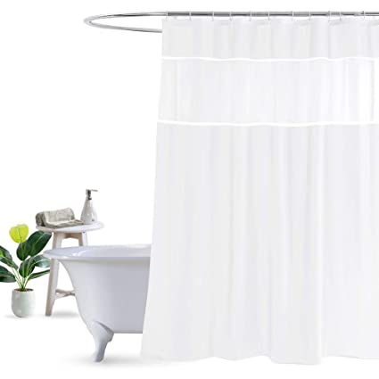 Amazon UFRIDAY White Shower Curtain With Light Filtering Window