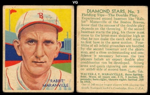 1934 Diamond Stars Regular (Baseball) Card# 3 Rabbit Maranville 1934 green back of the Boston Braves VG Condition