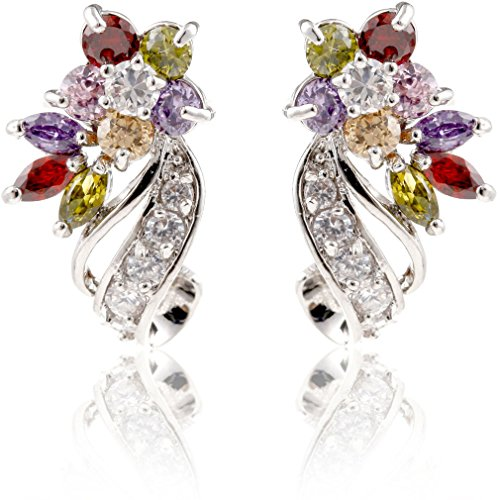 (YAZILIND Dazzling Rhodium Plated Colorful Cut Flawless Cubic Zirconia Twisted Flower Claw Stud Earrings)