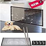 Retractable Pet Gate,Magic Gate Portable Folding Safe Guard Install Anywhere for Pet Safe,Pet Isolation Fence Net (47.2IN)