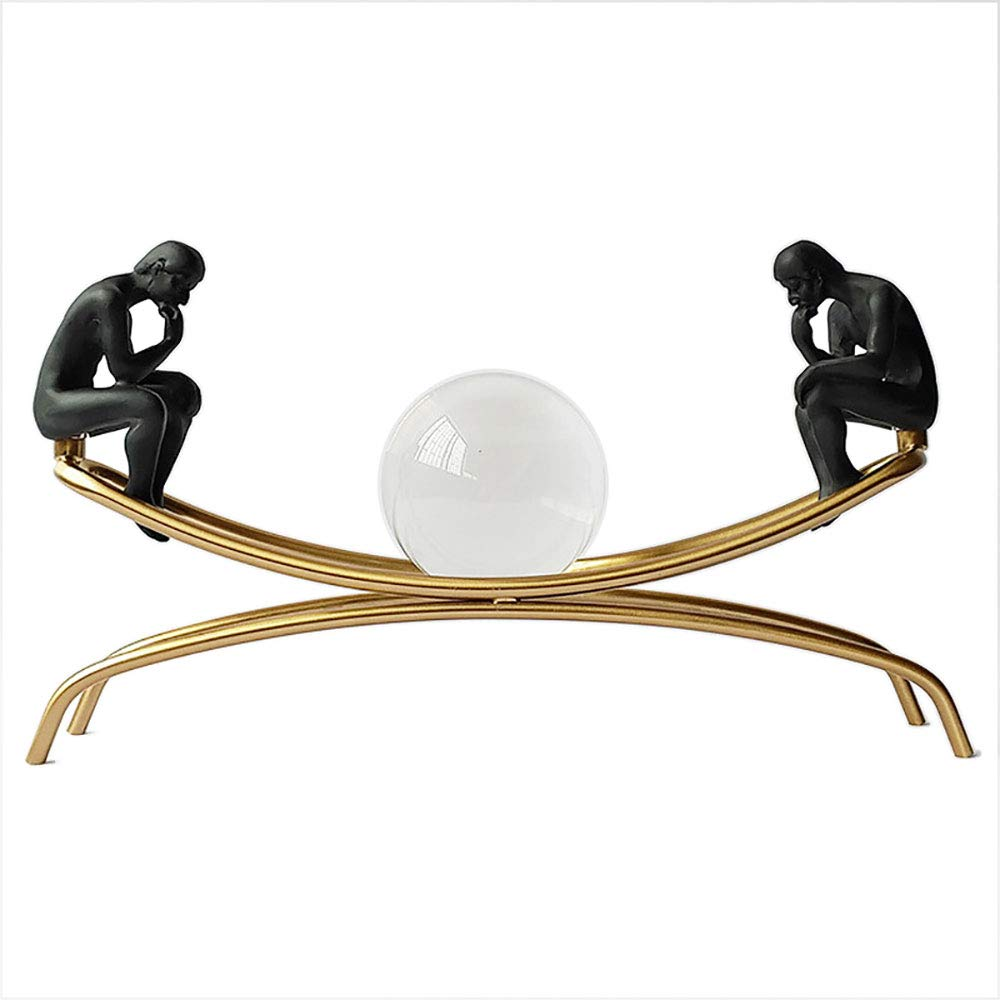 Feineshi Crystal Ball - Modern Luxury Crystal Ball Decoration Thinker Metal Modeling Stand Hardware Crafts, Living Room Crystal Decoration Home Glass Ornaments