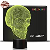 Skull 3D Lamp Optical Illusion Night Light, Death Model Birthday Gift Idea for Fan Xmas Valentine's Day Football Gift, Kids Boy Room Night Light with 7 Colors Changing